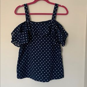 Blue and White Polka Dot J.Crew Off Shoulder tank